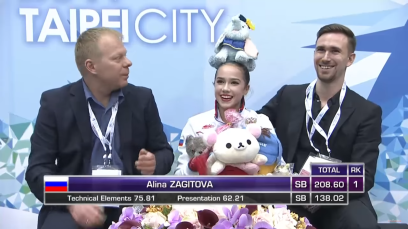 L-R: Sergei Dudakov, Alina Zagitova and Daniil Gleichengauz at the 2017 Junior World Championships in Taipei, Taiwan
