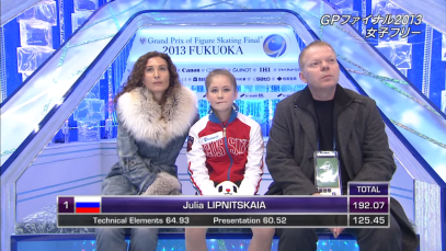 L-R: Eteri Tutberidze, Julia Lipnitskaia, and Sergei Dudakov at the 2013 Grand Prix Final in Fukuoka, Japan